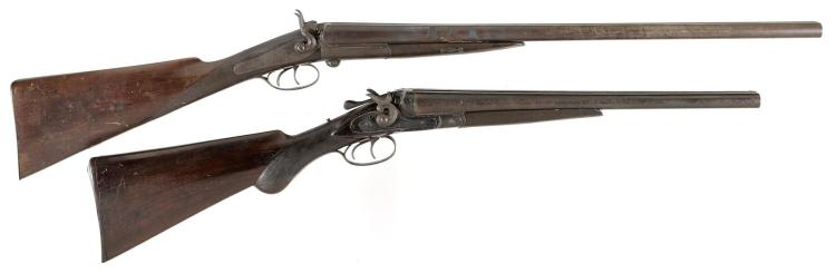 Two Double Barrel Shotguns -A) Howell Gano Side Lever Hammer Shotgun