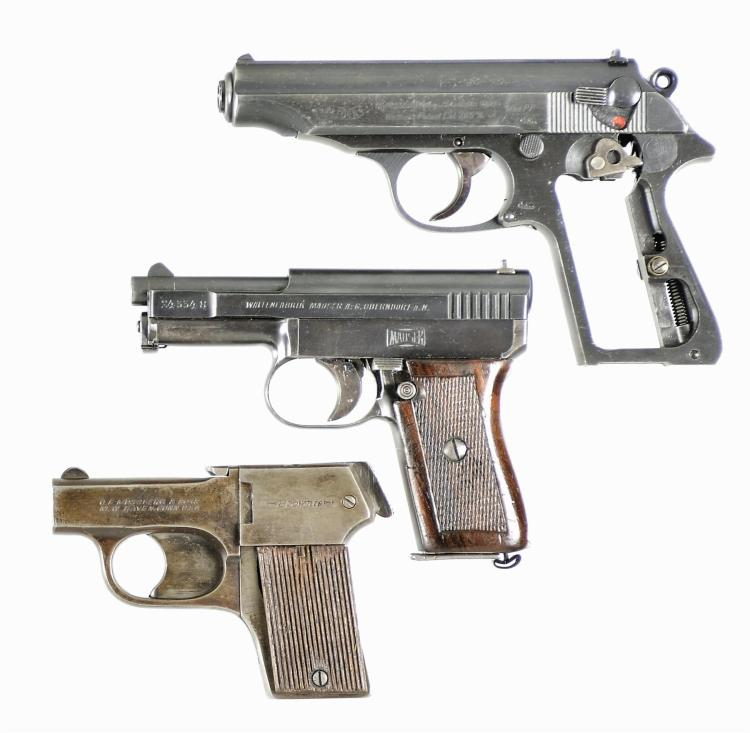 Three Hand Guns -A) Walther PP Semi-Automatic Pistol
