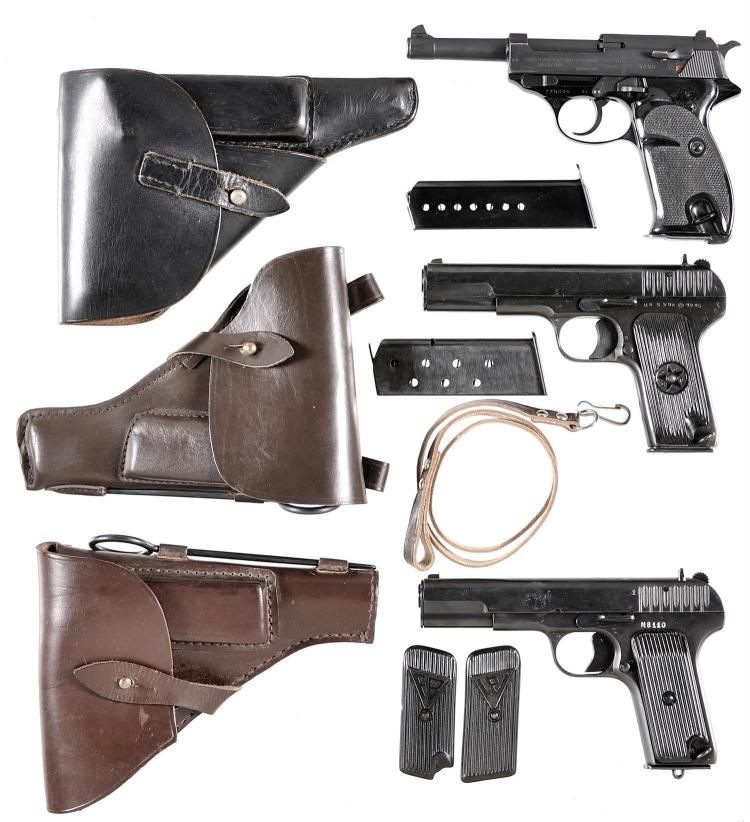 Three Semi-Automatic Pistols with Holsters -A) Manurhin Model P1 Pistol with Extra Magazine