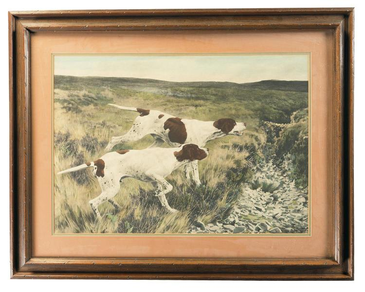 Two Large Hunting Dog Prints