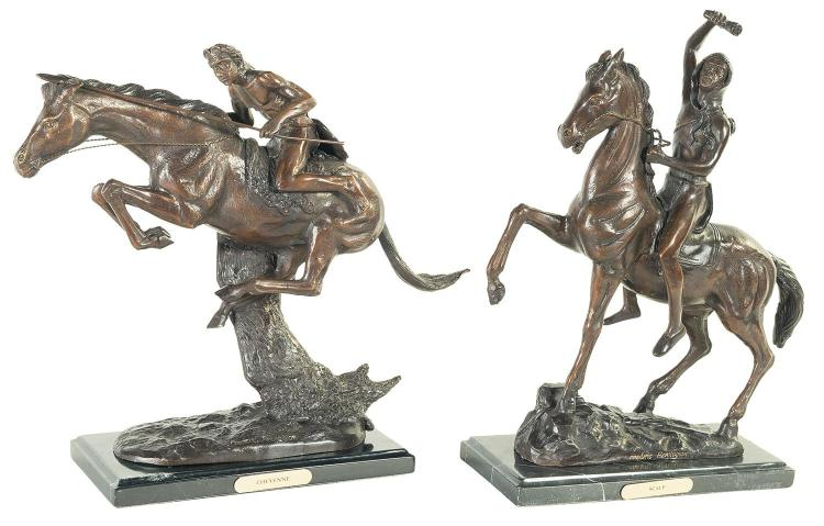 Two Copies of Frederic Remington Bronzes