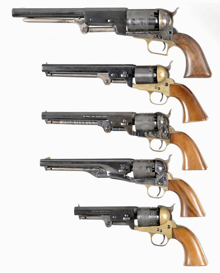 Five Italian Replica Percussion Revolvers -A) Armi San Marco Walker Revolver