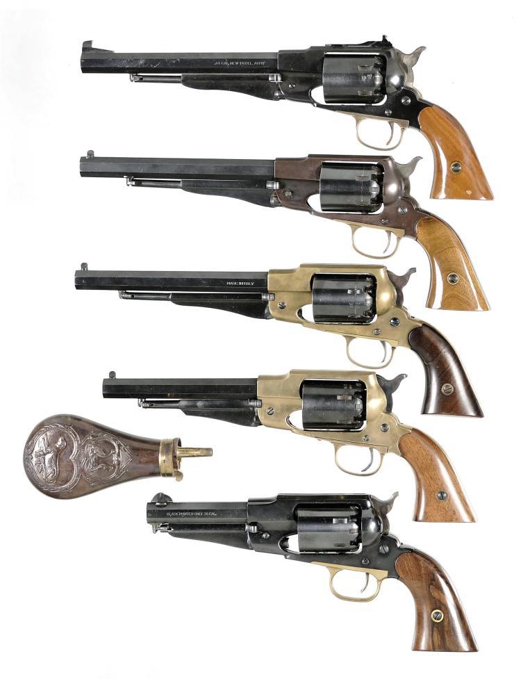 Five Italian Reproduction Percussion Revolvers -A) Euroarms Reproduction Model 1858 New Army Revolver