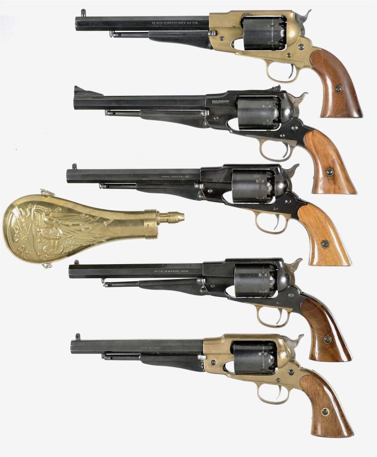 Five Italian Reproduction Percussion Revolvers -A) F LLI Pietta Navy Arms 1858 New Model Army Revolver