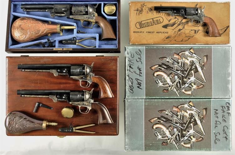 Four Italian Reproduction Percussion Revolvers -A) Cased and Engraved A Uberti Dragoon