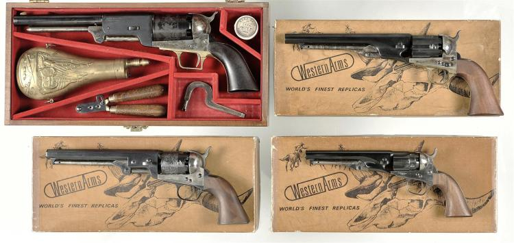 Four Italian Reproduction Percussion Revolvers -A) Cased Madison Import 1847 Walker Revolver with Accessories
