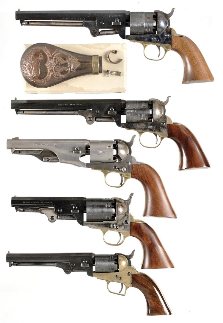 Five Italian Reproduction Percussion Revolvers -A) Excam Navy Model Revolver with Powder Flask.