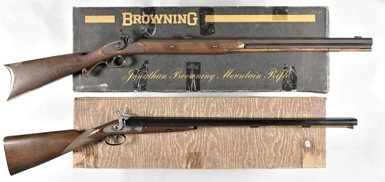 Two Contemporary Percussion Long Guns with Boxes -A) Browning