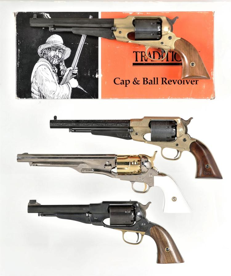 Four Italian Replica Percussion Revolvers -A) Traditions Model 1858 Remington Army with Matching Box
