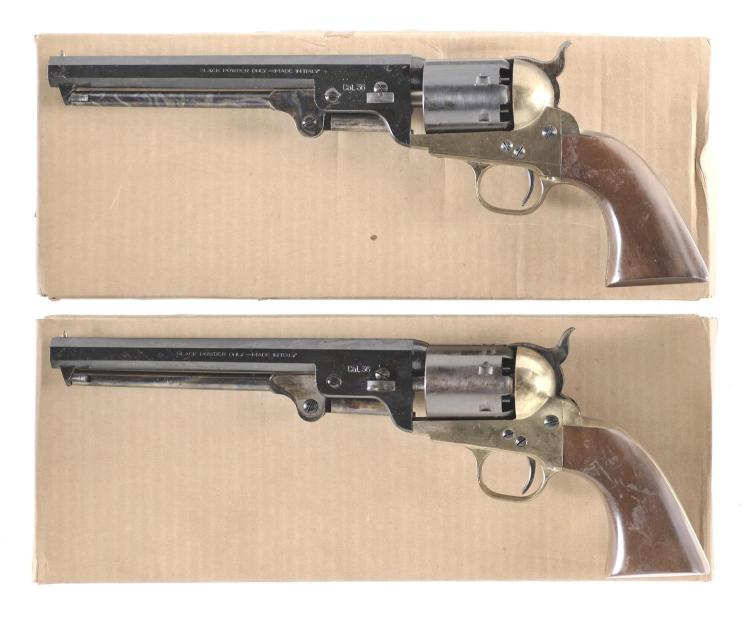 Two Reproduction Percussion Revolvers with Boxes -A) Italian Model 1851 Navy Revolver