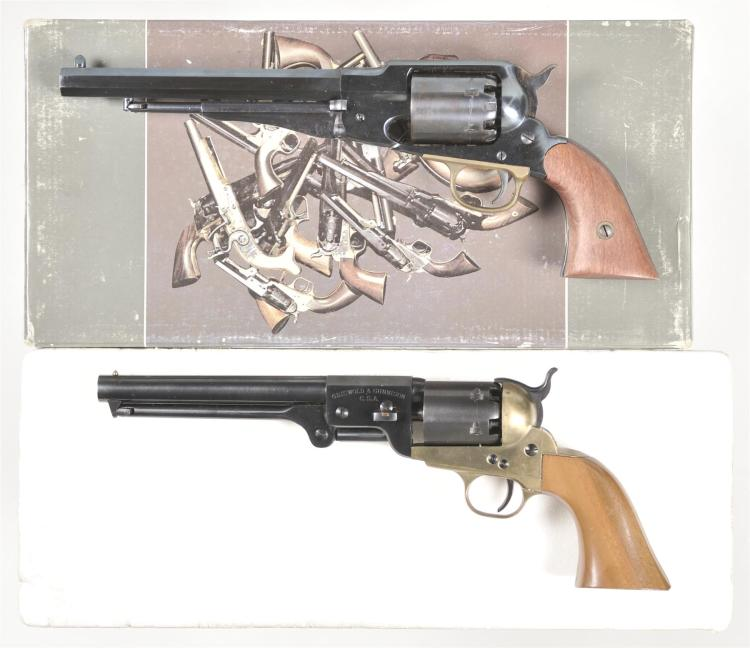 Two Reproduction Percussion Revolvers -A) Armi San Marco Model 1858 Remington Revolver with Matching Box