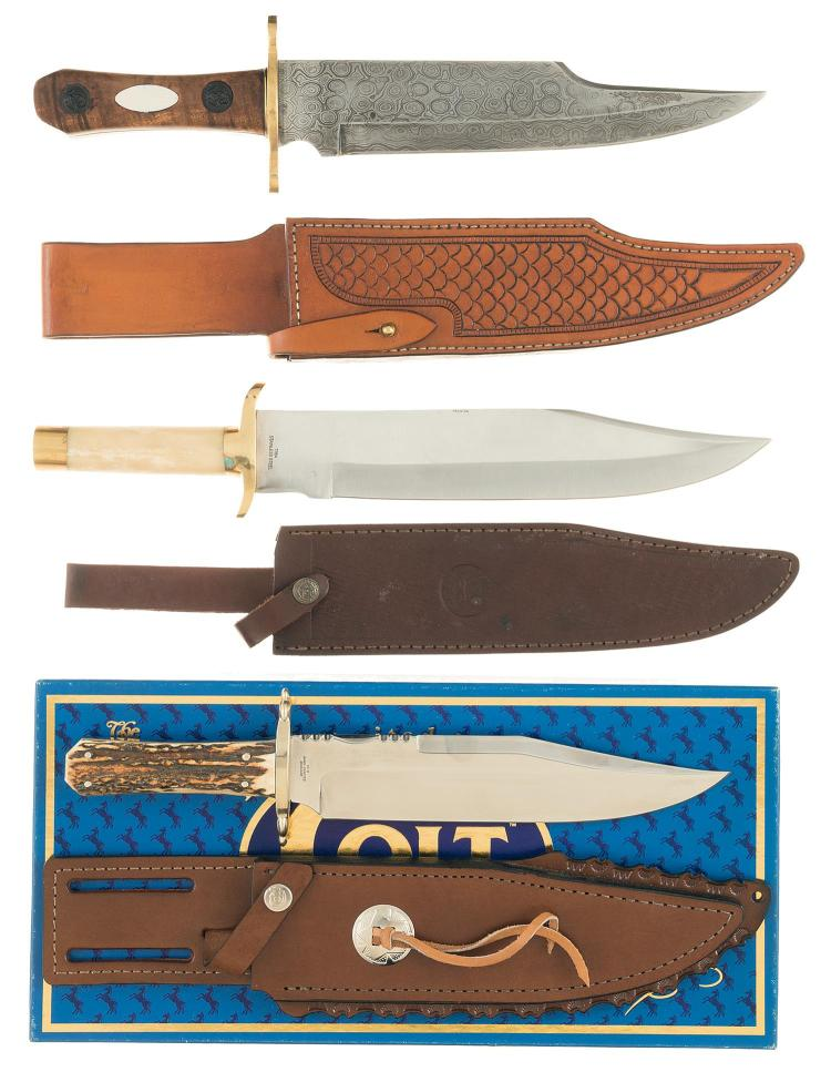 Three Bowie Style Knives with Leather Sheaths