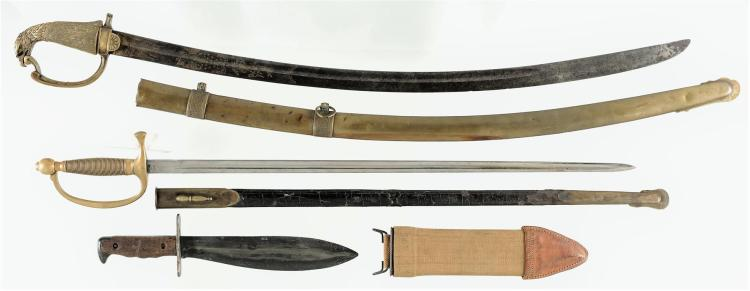Three Edged Weapons with Scabbards