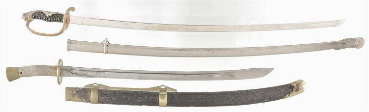 Two Unmarked Swords with Scabbards