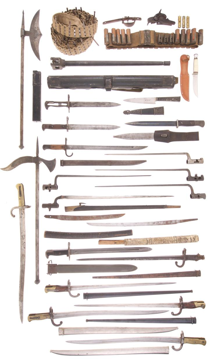 Springfield Armory Lock Plate and Large Assortment of Edged Weapons