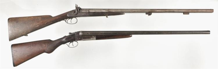 Two Double Barrel Shotguns -A) Belgian Side By Side Percussion Shotgun
