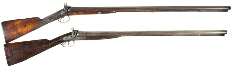 Two Engraved Double Barrel Percussion Shotguns with Banded Breeches-A) H.E. Dimick Shotgun