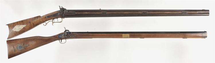 Two Percussion Long Guns -A) G G Julcher Over/Under Combination Cape Gun