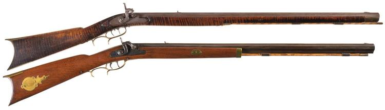Two Percussion Rifles -A) W. H. Forker Pennsylvania Rifle