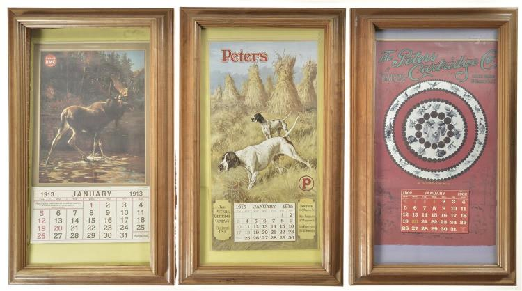Three Ammunition Posters in Oak Frames