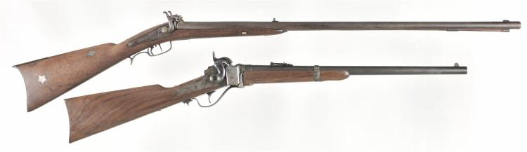 Two Long Guns -A) Golcher Marked Double Barrel Combination Percussion Rifle