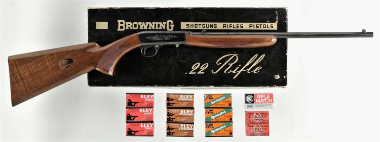 Browning Model 22 Auto Semi-Automatic Rifle with Box and Ammunition