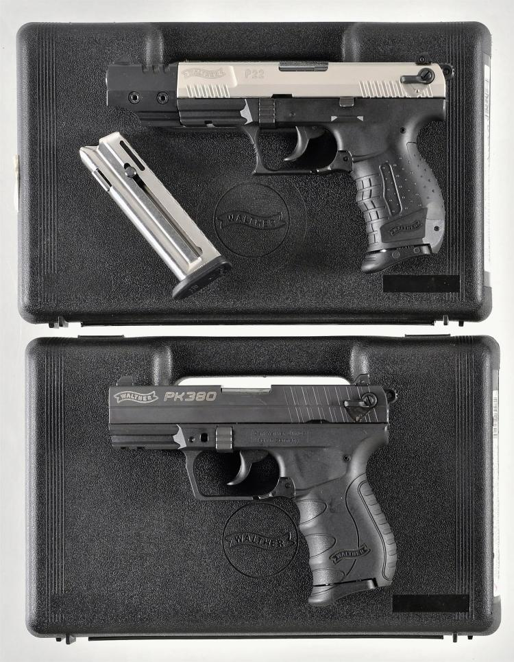 Two Walther Semi-Automatic Pistols -A) Walther P-22 Pistol with Matching Case and Accessories