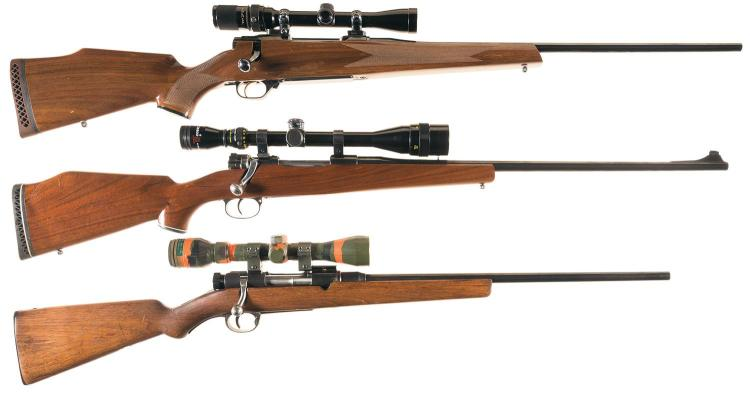 Three Bolt Action Rifles with Scopes -A) Nikko Model 7000 Golden Eagle Rifle
