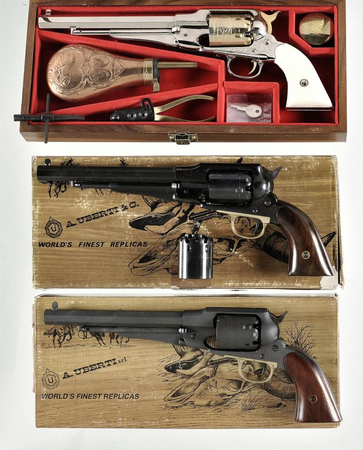 Three Italian Reproduction Percussion Revolvers -A) Engraved Nickel and Gold Remington 1858 Army Revolver with Accessories