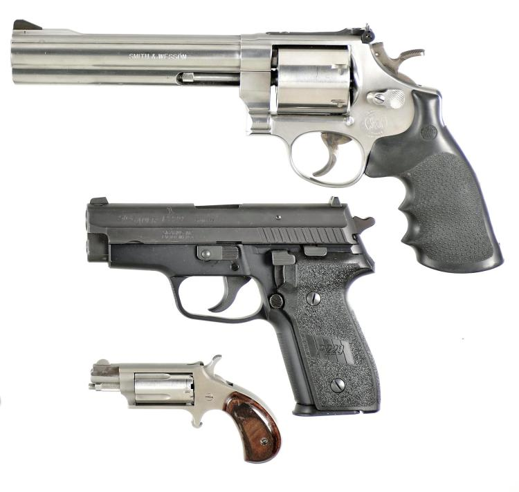 Three Hand Guns -A) Smith & Wesson Model 657-3 Double Action Revolver