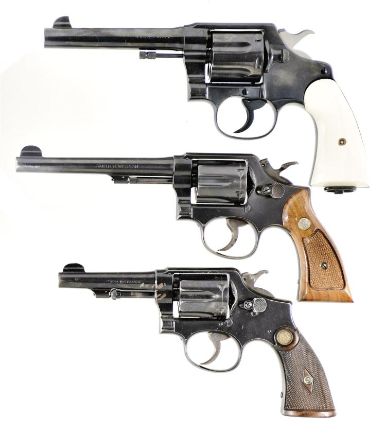 Three Double Action Revolvers -A) Colt New Service Revolver