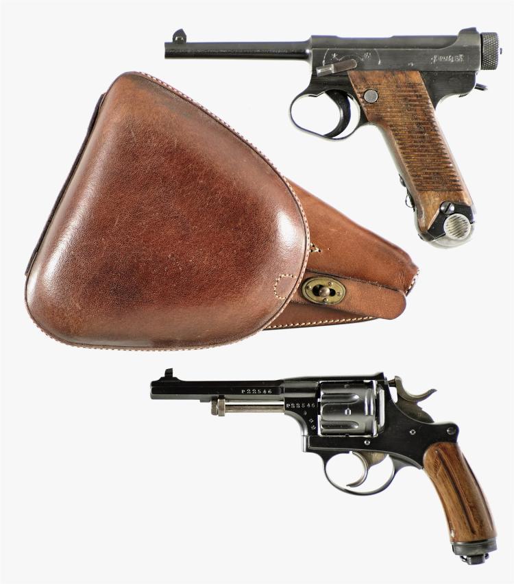 Two Handguns -A) Japanese Type 14 Nambu Semi-Automatic Pistol with Holster
