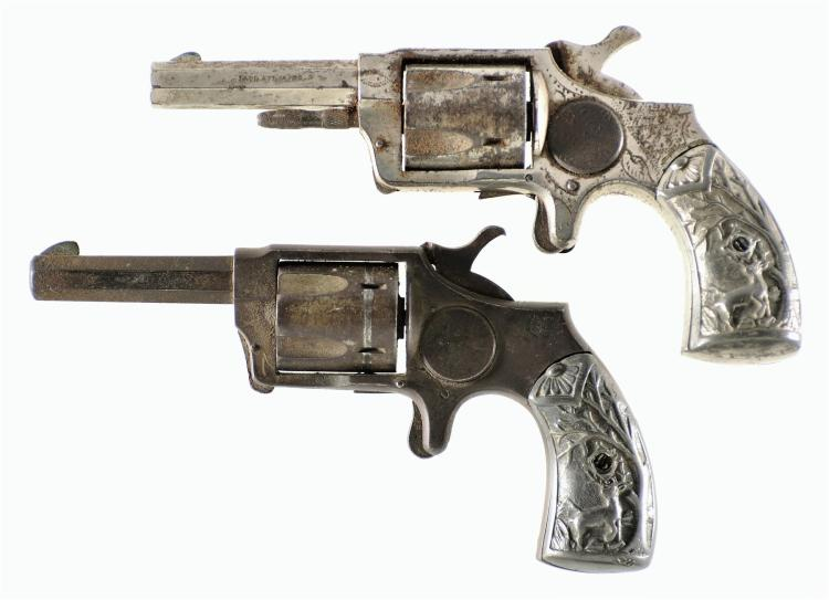 Two Engraved Norwich Arms Co Revolvers with Cast DeGress Tiffany Style Grips -A) Norwich Spur Trigger Revolver