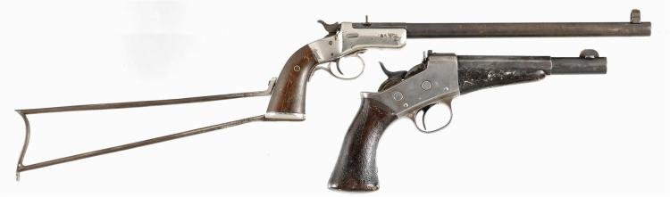 One Long Gun and One Pistol -A) Stevens Model 40 Rifle with Wire Stock
