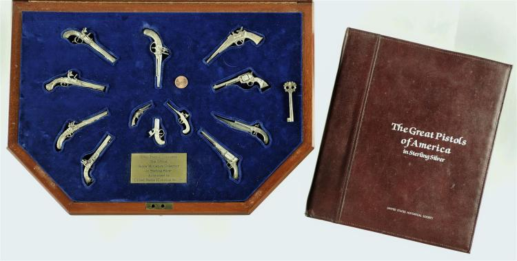 Cased Set of Twelve Sterling Silver United States Historical Society Great Pistols of America Collection