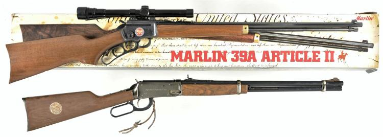 Two Lever Action Commemorative Long Arms -A) Marlin Model 39 Article II Rifle with Accessories