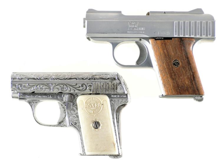 Two Nickel Plated Semi-Automatic Pistols -A) Raven Arms Model P25 Pistol