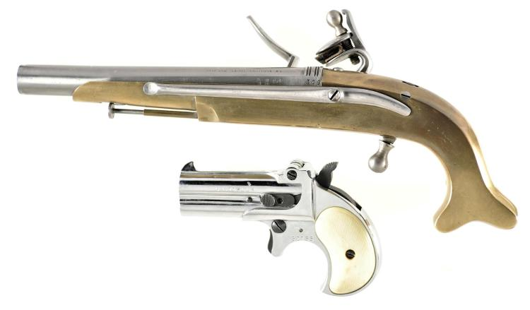 Two Handguns -A) Navy Arms Reproduction Flintlock Belt Pistol