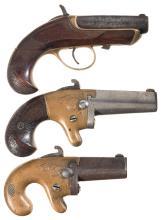 Three American Single Shot Antique Derringers