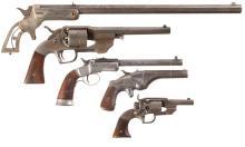 Three Single Shot Pistols and Two Revolvers