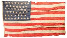 American Flag Attributed to USS New York (1893) and Painting