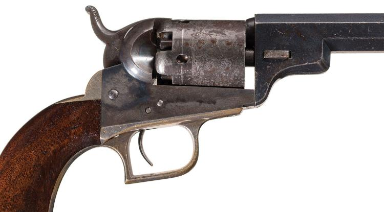 Transitional Colt Baby Dragoon Revolver with Tooled Holster