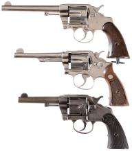 Three Double Action Revolvers -A) U.S. Army Colt Model 1901