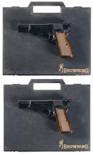 Two Browning Hi-Power Capitan Semi-Automatic Pistols with Cases