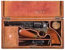 Cased Factory Engraved Colt Model 1862 Pocket Navy Revolver