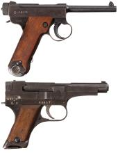 Two Late WWII Japanese Military Pistols with Holsters