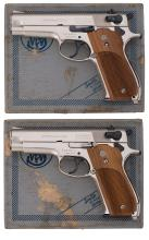 Two Consecutively Numbered Nickel Smith & Wesson Model 39-2
