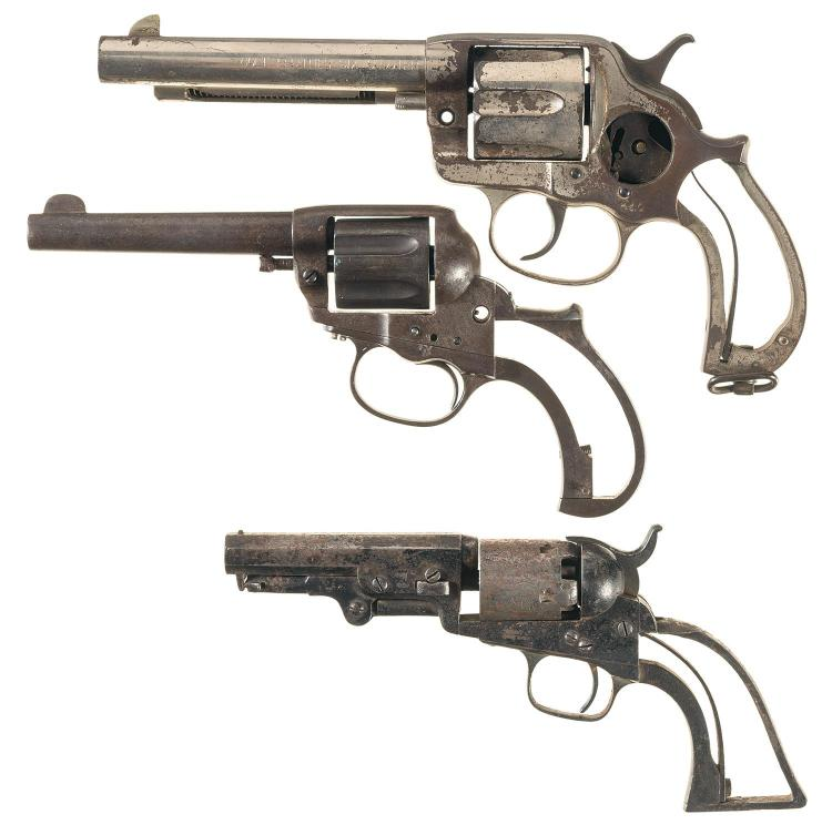 Three Colt Revolvers -A) Colt Model 1878 Frontier Six Shooter Double