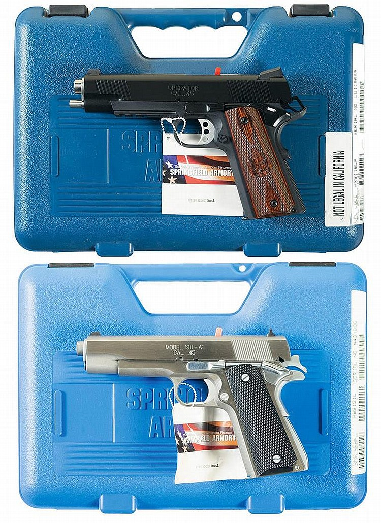 Two Springfield Armory 1911 Style Semi-Automatic Pistols with