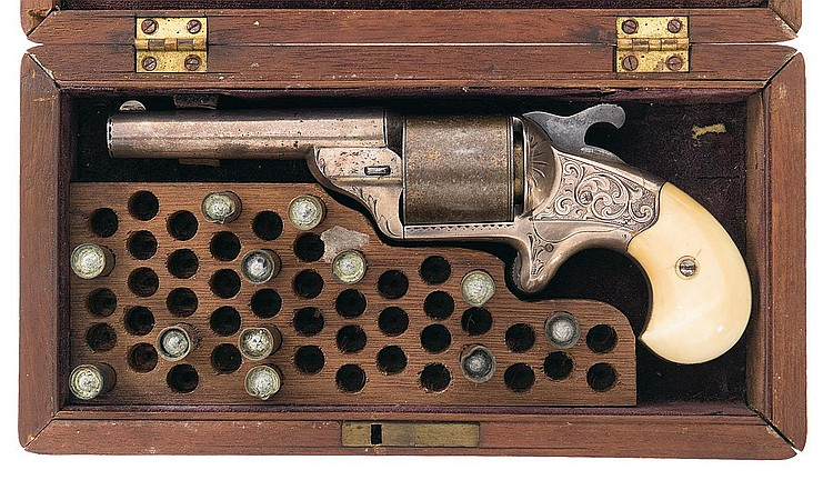 Cased Engraved Moore 39 S Patent Teat Fire Revolver With Ivory